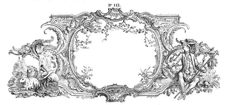 dessin à imprimer shabby: cadre étiquette à dessin toile de Jouy