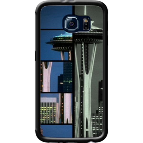 Blue Grey Space Needle Mosaic By stine1 for Galaxy S6 found on Polyvore