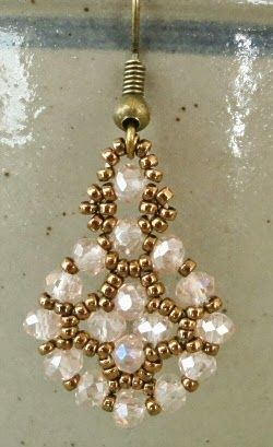 "EASY EARRINGS VARIATION 15/0 seed beads Miyuki ""Dark Bronze"" (457D) 3mm rondelles ""Peach AB"" (Chinavoski) I adapted these earrings..."