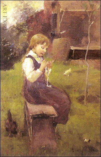 "'Girl on a bench' by Georgios Jakobides, greek painter 1853-1932 ""Κορίτσι στο παγκάκι"", Ιακωβίδης"