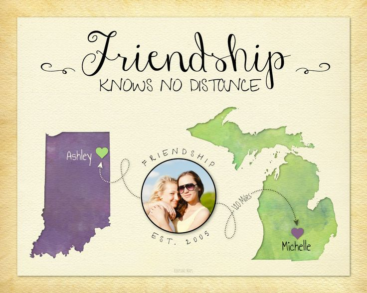 Going Away Gift for Best Friend, Friendship Knows No Distance Print, Long Distance Gift for Friend, Moving Away Gift Idea for Friend, Going Away Party Idea by KeepsakeMaps on Etsy