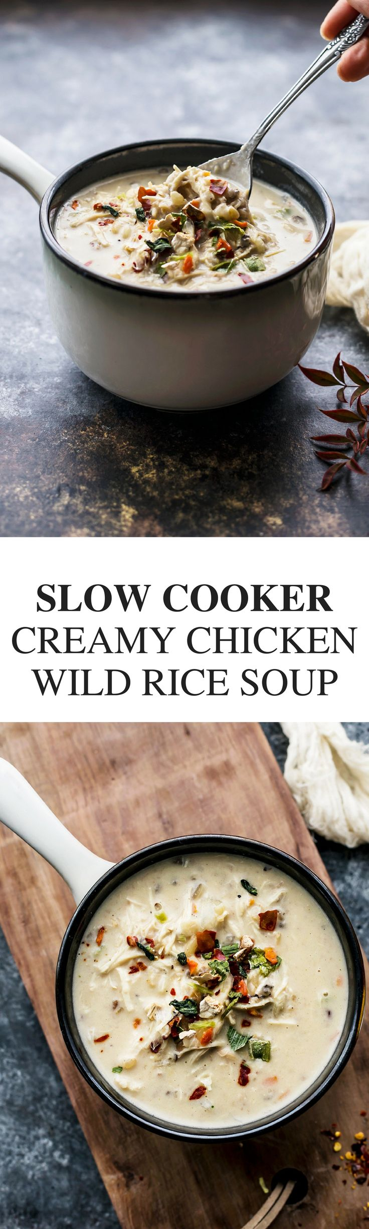 Slow Cooker Creamy Chicken Wild Rice Soup via @thedealmatch