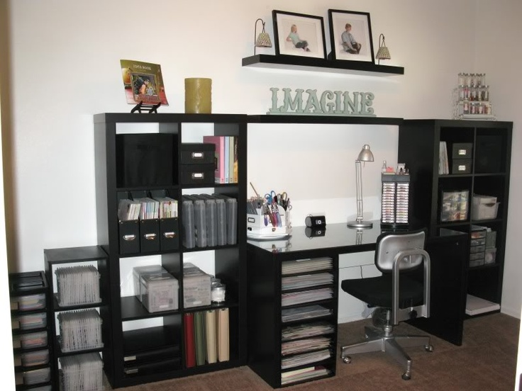 Love The Way She Place Her Desk Between Two Expedit Book Shelves. Maybe In  White