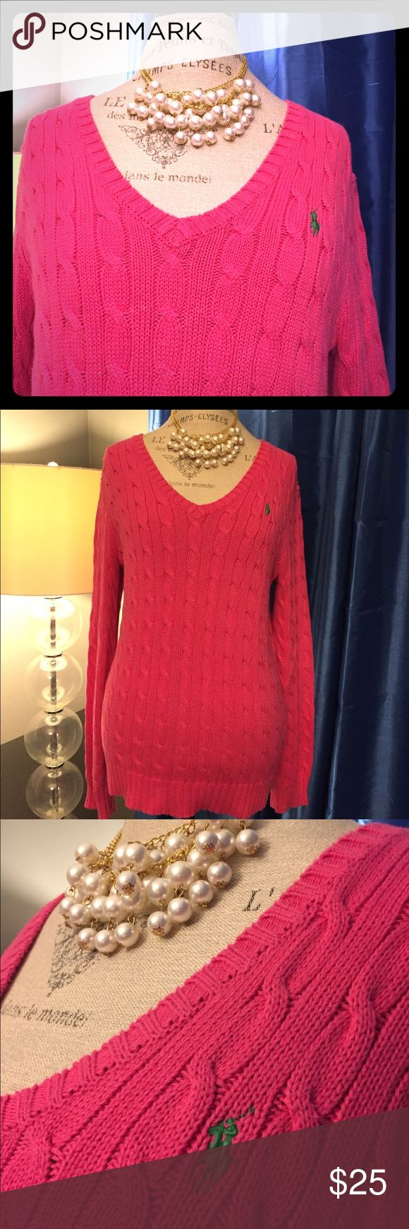 NWOT Ralph Lauren Pink V-Neck Cable Sweater XL Brand new, never worn and it was even just dry cleaned.  This sweater is in excellent condition and you won't be disappointed. Smoke, pet and perfume free home. XL Lauren Ralph Lauren Sweaters V-Necks