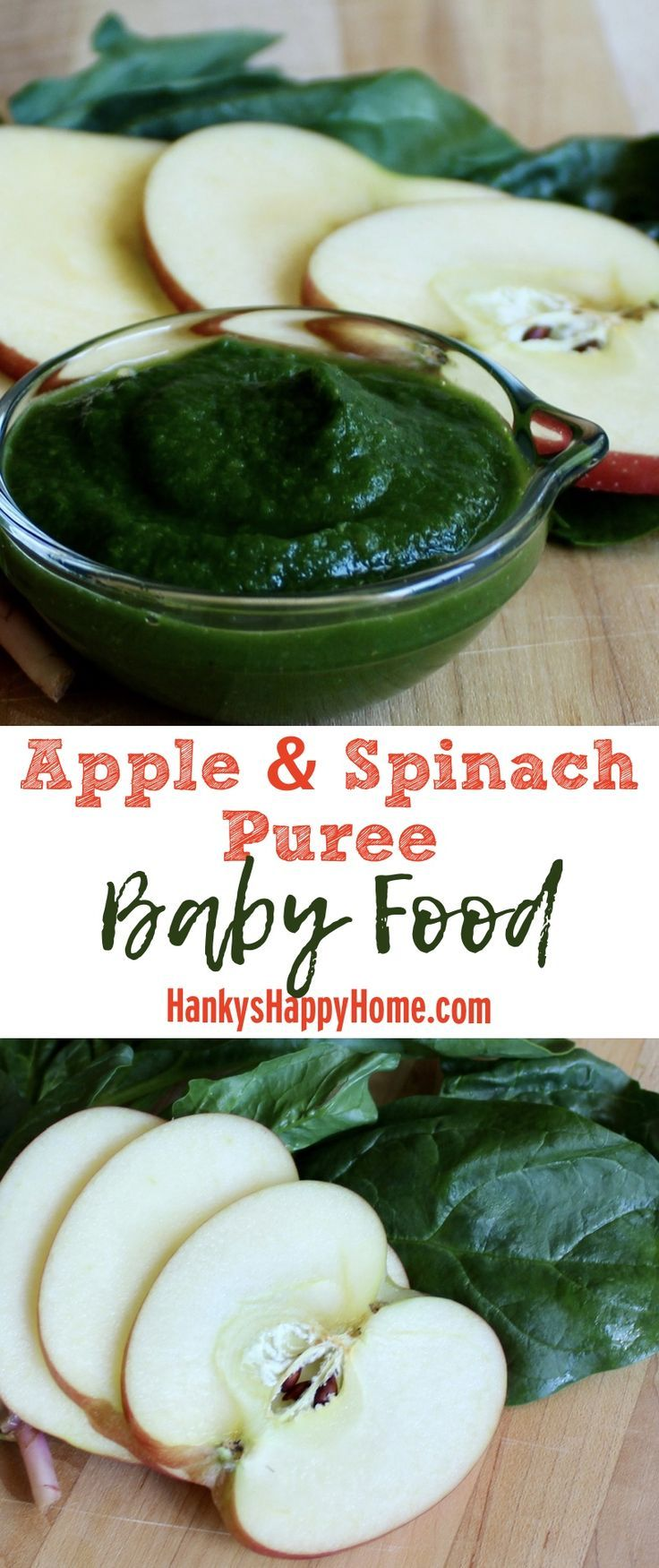 This easy homemade Apple & Spinach Puree is packed with nutrients and tastes delicious.