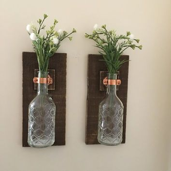 Mason Jar Wall Sconce (SET OF TWO) Wall Lanterns Rustic Wall Decor Glass Jar Part 26