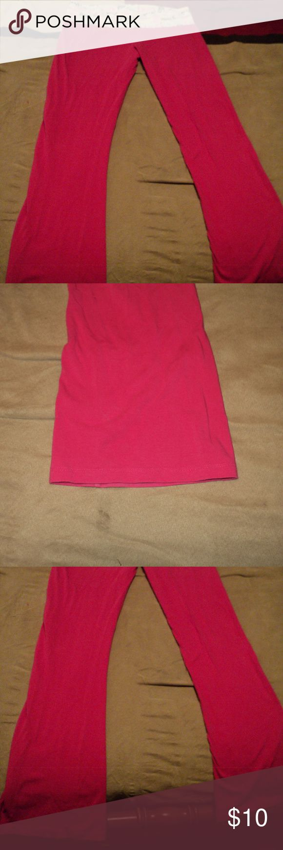 Pink yoga pants Pink yoga pants that have cute words on top. Size large. Any questions please feel free to ask! No brand Pants Boot Cut & Flare