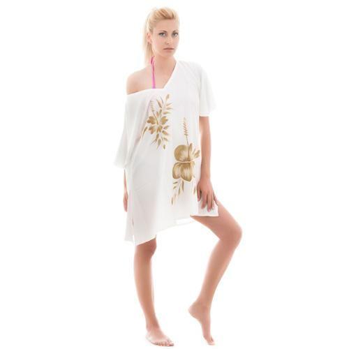 Καφτάνι Κοντό Γυναικείο Senza White-Gold - BeMine.gr