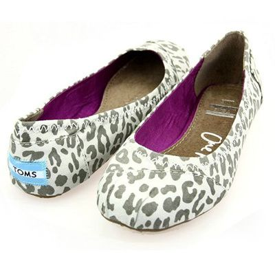 Toms Womens Leopard Flat Shoes Grey