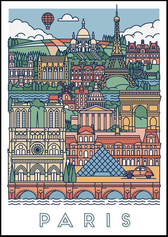 Graphical posters of Paris & London on Behance: