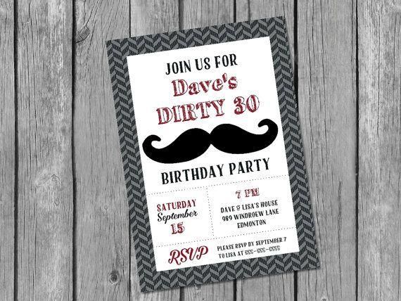 Printable male 30th birthday invitation / by glassslipperdesigns