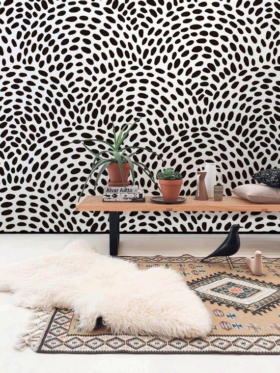 Removable Wallpaper Scandinavian Wallpaper Black Circle Dots Etsy In 2021 Scandinavian Wallpaper Removable Wallpaper Wall Wallpaper