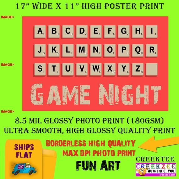 11x17 Poster Photo Print Art Game Night Scrabble Fun Poster Landscape Orientation High Quality Glossy Smooth Photo Print In 2020 Photo Posters 11x17 Poster Photo Printing