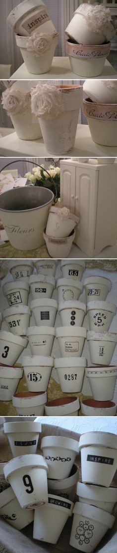 DIY FLOWER POTS :: White chalk painted terra cotta pots (using ASCP) w/ burlap decoupaged on some others with rub on transfers to embellish them.