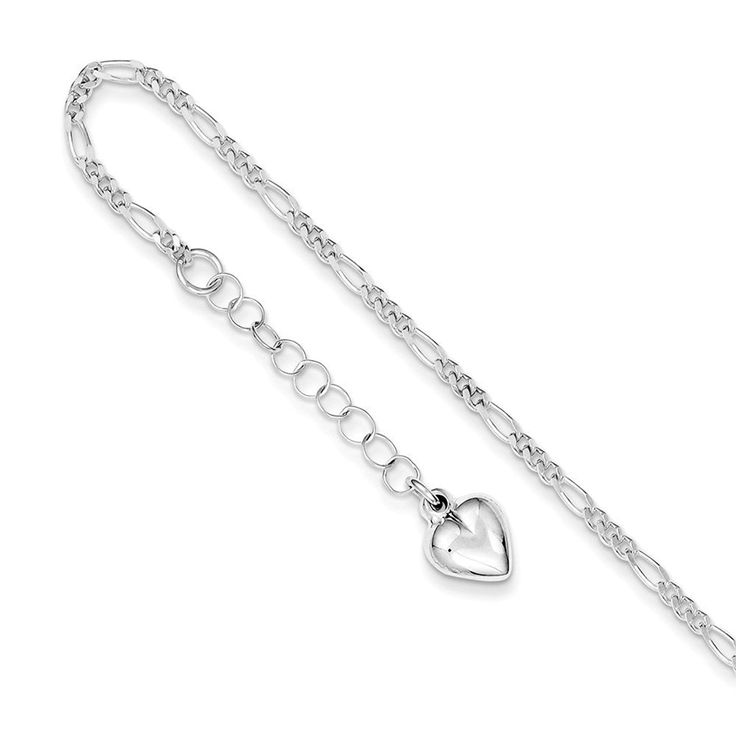 Sterling Silver Polished Heart w/ 1in ext. Anklet 9 Inches Long ** Be sure to check out this awesome product. (This is an Amazon Affiliate link and I receive a commission for the sales)
