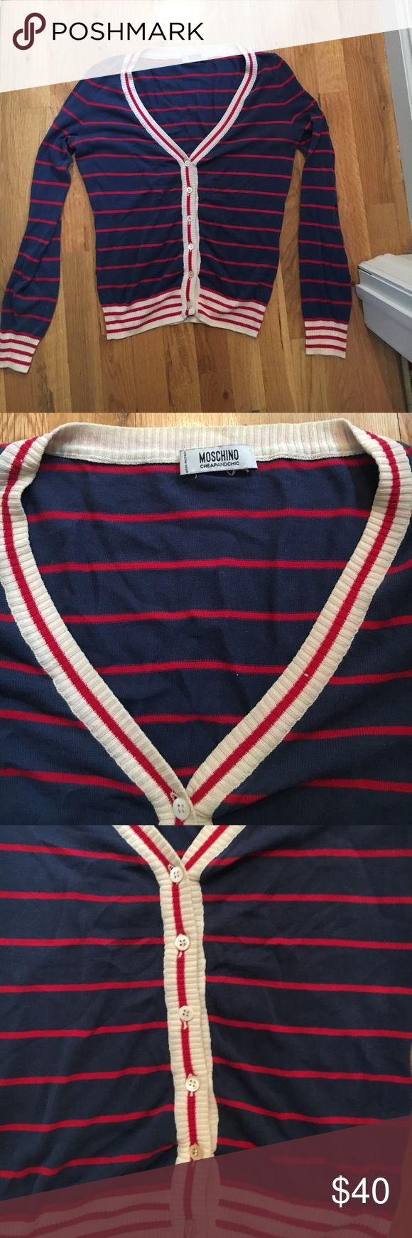 MOSCHINO navy and red striped nautical cardigan MOSCHINO (vintage) blue and red striped French nautical style cardigan with off-white trimming around sleeves, v-neck collar and buttons down the middle Moschino Sweaters Cardigans