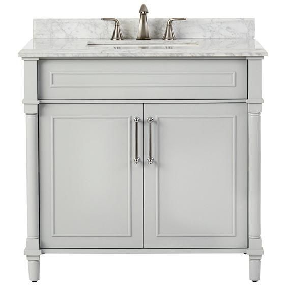 """Aberdeen 36"""" Single Vanity -    HomeDecorators.com in the end this might be easier to do the update than to do the counter on top of the existing cabinet painted and replacing the hardware etc."""