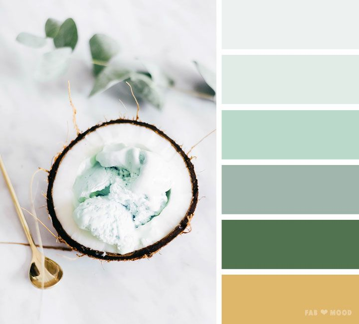 Mint green gold color scheme ,color scheme ,color palette - Looking for color inspiration? At fab mood you will find 1000s of beautiful color palette, color palette inspired by nature,landscape ,food ,season