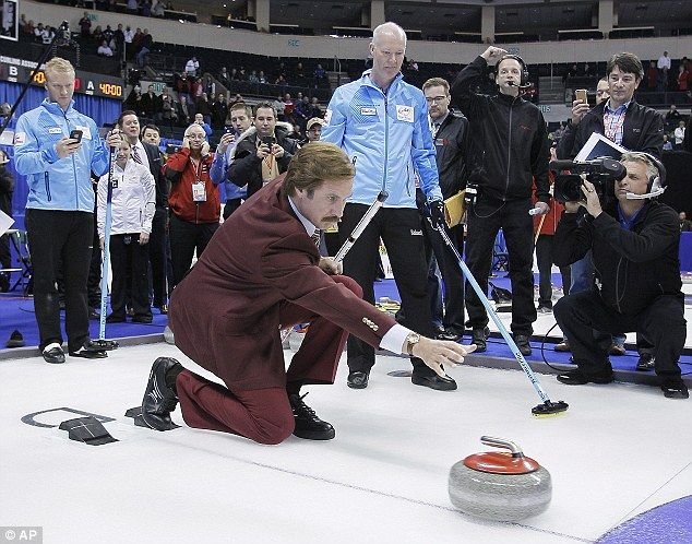 Will Ferrell covered the Canadian Olympic Curling Trials on Sunday as Ron Burgundy, his Anchorman character  Read more: http://www.dailymail.co.uk/tvshowbiz/article-2516611/Will-Ferrell-helps-open-Olympic-curling-trials-posing-Anchorman-alter-ego-Ron-Burgundy.html#ixzz2mMhJj58H  Follow us: @MailOnline on Twitter | DailyMail on Facebook