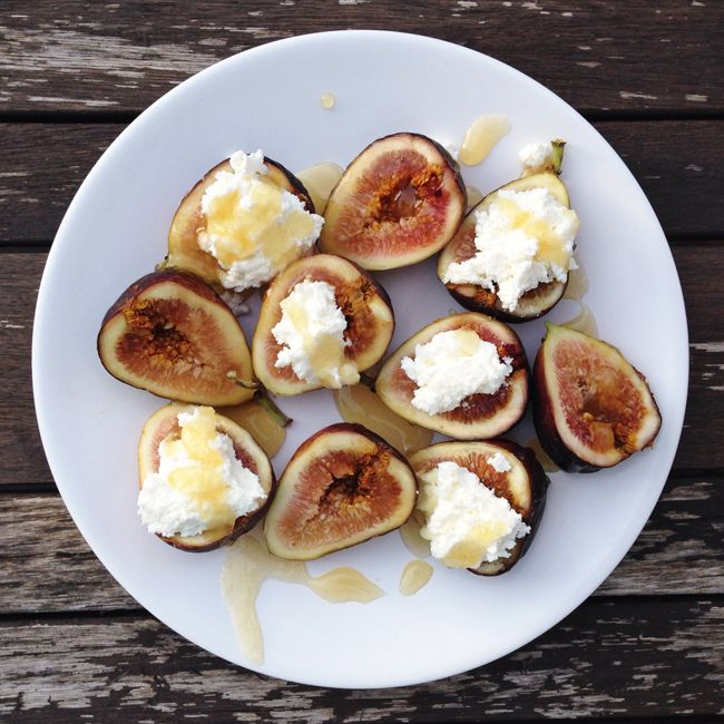 Figs with Ricotta Cheese, Drizzled in Honey. These Figs with Ricotta Cheese, Drizzled in Honey are a quick and delicious appetizer or snack! Ready in minutes and so beautiful!