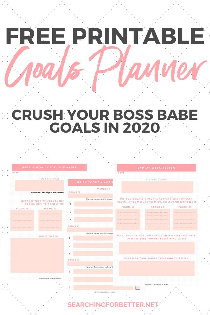 Free Printable Goal Planner For 2020 Goals Planner Goals
