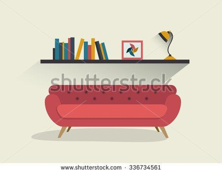 Retro Red Sofa And Book Shelf With Lamp. Flat Design Vector Illustration. Living  Room ...