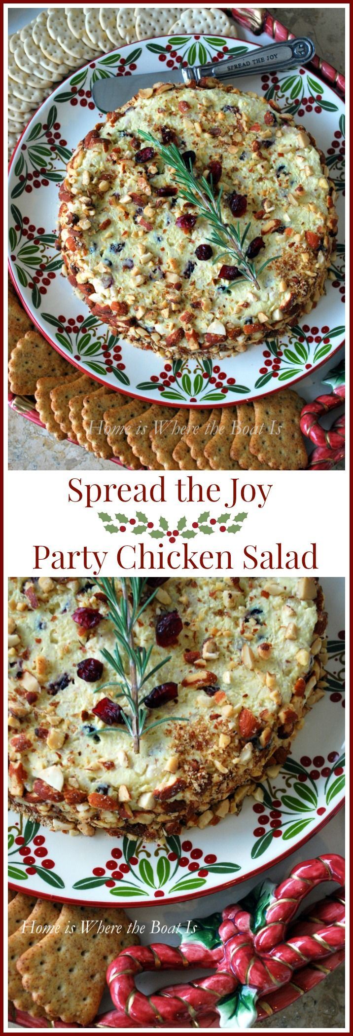 Make ahead molded and festive chicken salad appetizer for Christmas entertaining via Home is Where the Boat Is #appetizer #Christmas