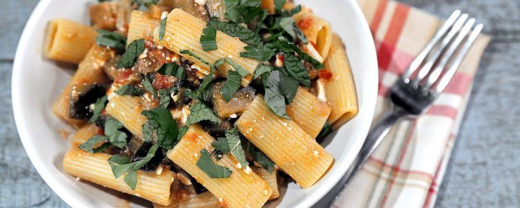 Rigatoni alla Norma | Mario Batali | This Italian dish is delicious for Christmas Eve dinner!