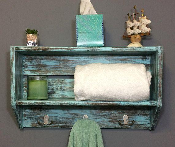 Nautical Bathroom Wall Shelf With Hooks