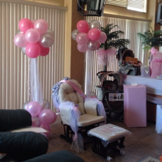 Heather's baby shower. Balloon arrangements by Kathy Ruscello