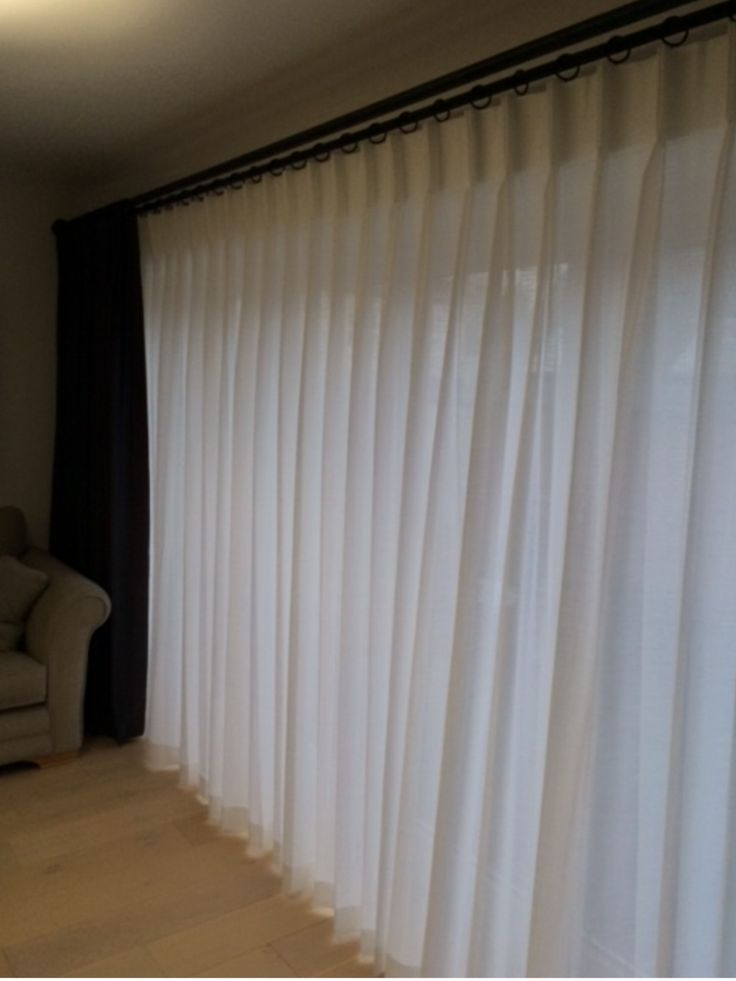 Bi-fold door curtain pole .Double pole system for sheer curtain and a heavy interlined single curtain .New design ,only two brackets ,it's ideal for stacking a single curtain to one side,which compliments the stacking of the bi fold door system.