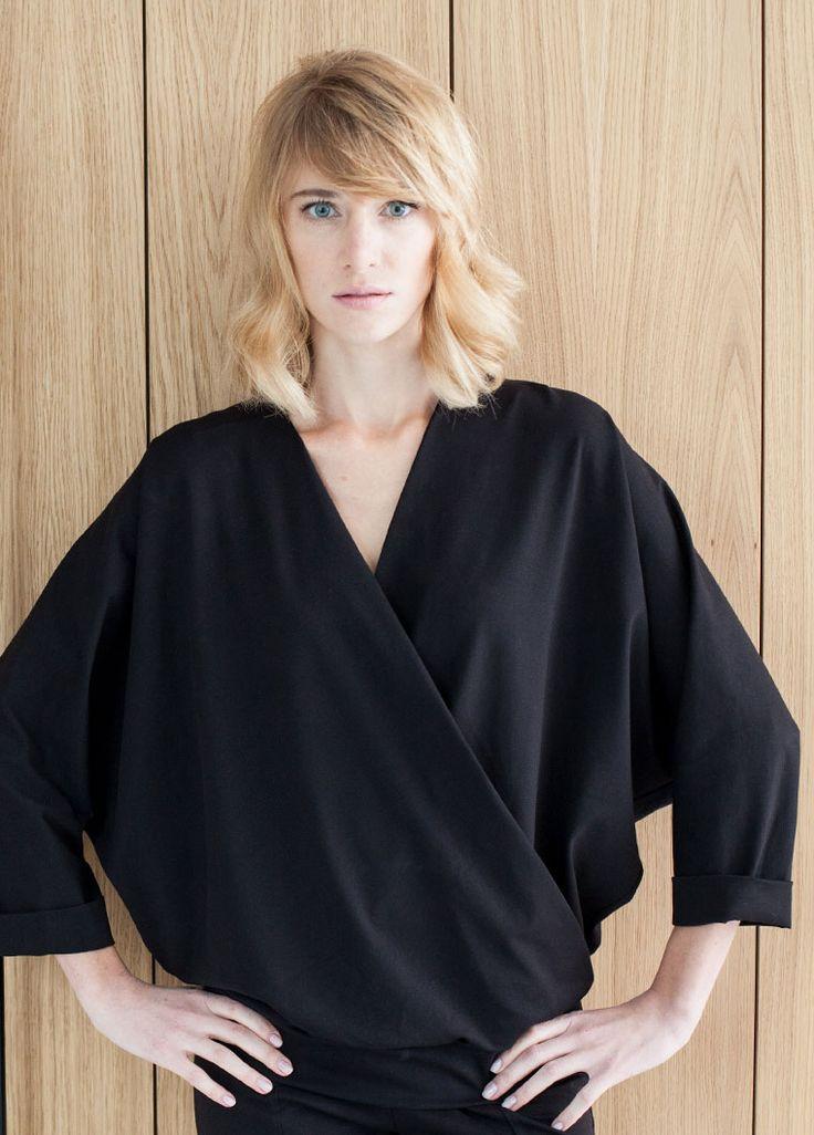 Kimono black blouse. Women clothes.