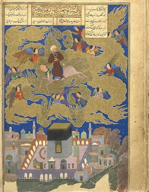 The Prophet mounted on the Buraq and escorted by angels passing over the Kaʻbah