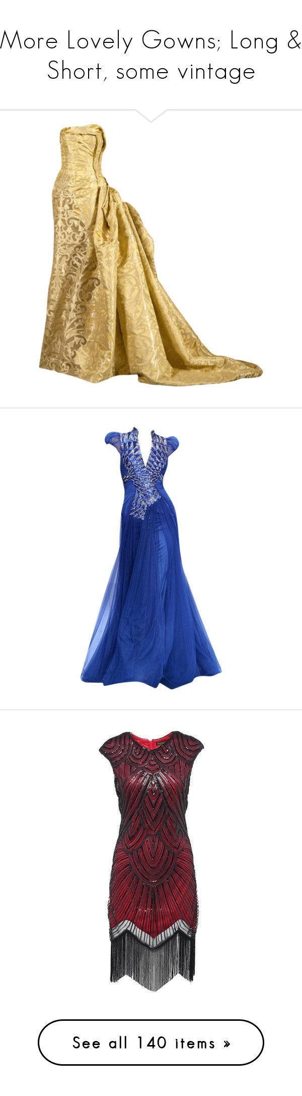 """""""More Lovely Gowns; Long & Short, some vintage"""" by judymjohnson ❤ liked on Polyvore featuring dresses, gowns, long dress, belle, tube dress, long tube dress, tube gown, long dresses, blue and vestidos"""