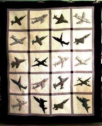 A more modern airplane quilt design