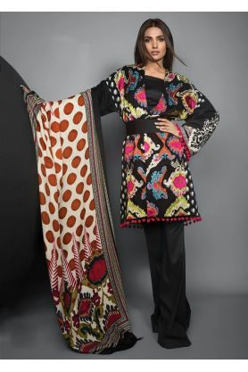Pashmina Pakitani Black Multicolor Printed Suit With Pashmina Maroon Printed Shawl