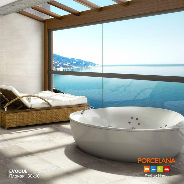 Απολαύστε το μπάνιο σας σε έναν #SpaStyle χώρο #contemporary αισθητικής, επενδυμένο με το season's #favorite #industrial δάπεδο Εvoque της Mapisa Ceramica. Διαθέσιμο σε διάσταση 60x60 (photo) & 30x60. #FeelingHome @ Porcelana