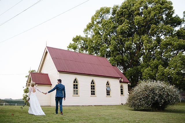 Sydneysiders Meghan and Dominic chose Byron's Eureka Uniting Church to say their vows and Eureka Community Hall for their reception. 'Byron Bay is such a special place for us,' says Meghan.