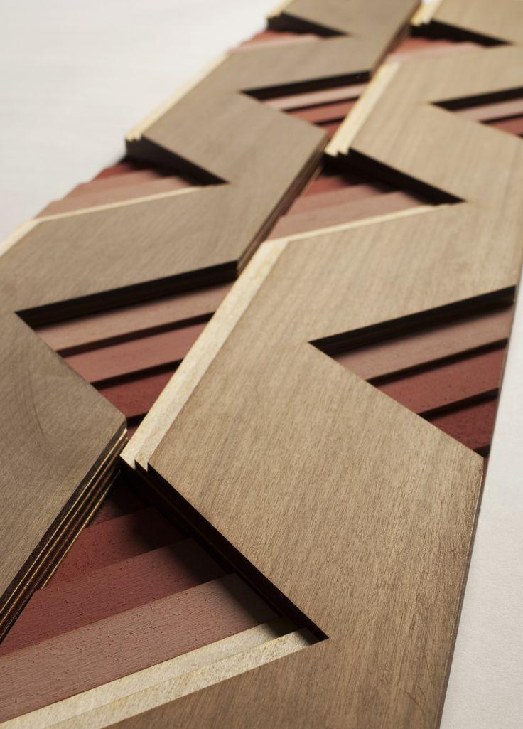 Atelier Anthony Roussel. Étagé colour wood tile, collection 01. Walnut & birch wood. #wood #surfacedesign #3dsurfacedesign #anthonyroussel #panelling #paneling #tile #woodtile #atelieranthonyroussel