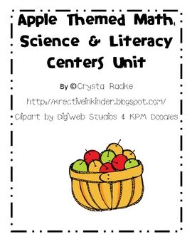 Apples Literacy, Science, and Math Centers Unit! This unit includes 63 pages of printable literacy, science, writing, and math center games, worksheets, and activities. There are ideas for art projects and interactive writing, too. $
