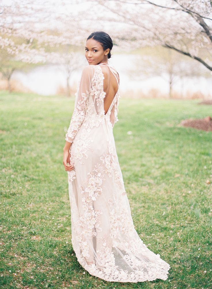 Blush embroidered wedding dress: How to Infuse Your Wedding with Cherry Blossoms