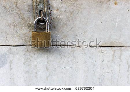 safe lock on metal door with copy space
