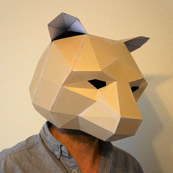Bear Mask make your own from recycled card perfect by Wintercroft