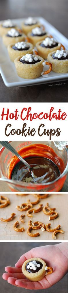 This easy cookie recipe for Hot Chocolate Cookie Cups is made with sugar cookies. They're filled with chocolate ganache and have a pretzel handle!