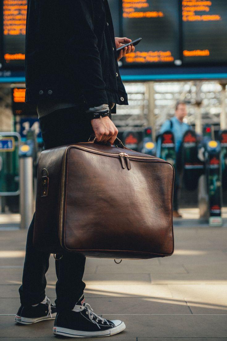 Leather Suitcase, Men's Travel Bag, Handmade Leather Bag, Large Travel Suitcase, Vintage, Retro, Holdall, Men's Fashion, Hip by BennyBeeLeather on Etsy https://www.etsy.com/listing/470546164/leather-suitcase-mens-travel-bag