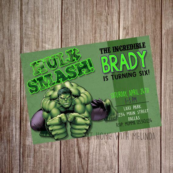 Hulk Birthday Invitation Birthday Party Super by AtHomeWithMelinda