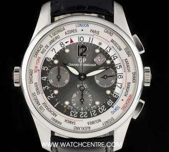 Girard Perregaux Stainless Steel Anthracite Dial FTC World Time Chronograph Limited Edition 49805