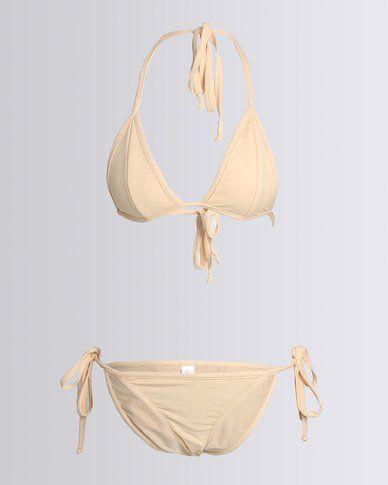 Nude Wear Triangle Bikini Set Beige