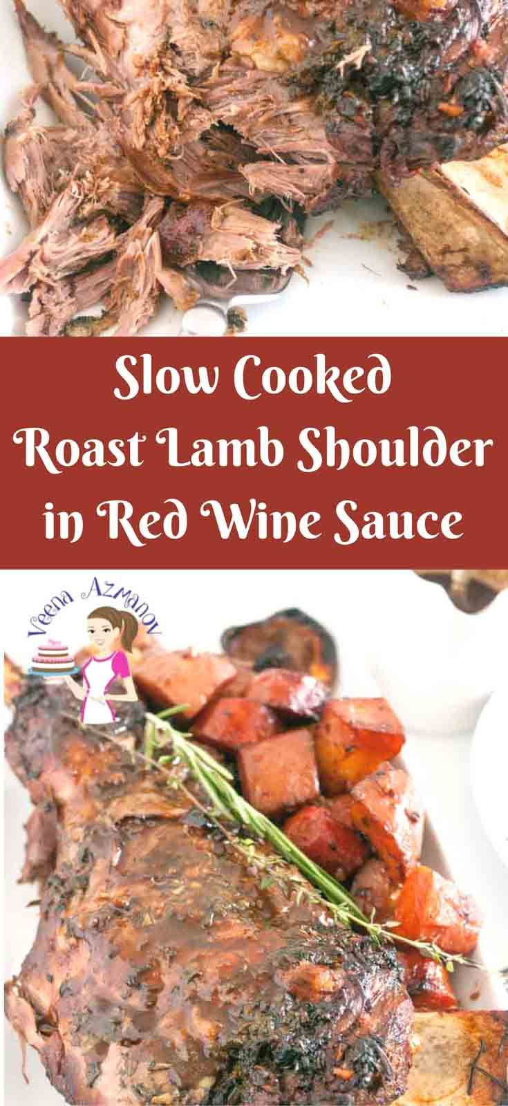 This succulent slow cooked roast lamb shoulder is cooked low and slow keeping it soft and juicy. Infused with a mixture of fresh herbs such as rosemary, theme and cilantro and some robust red wine as a result you get a delicious gravy. via @Veenaazmanov
