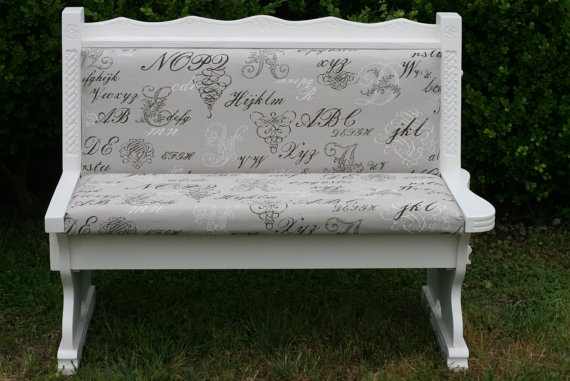 Shabby chic antique church pew bench by InspireMeDesigns on Etsy